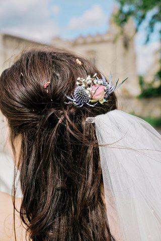 natural-floral-headpiece-hair-clip-thistle-blue-pink-blush-real-flowers-veil-british-english-wedding