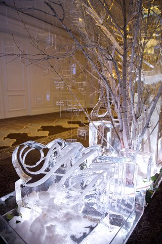 lucite-escort-cards-on-winter-tree-branches-coming-out-of-monogram-ice-sculpture-at-winter-wedding