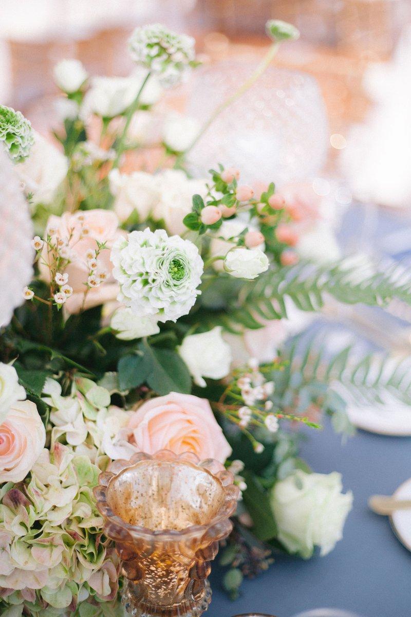 Close Up of Peach Wedding Centerpiece