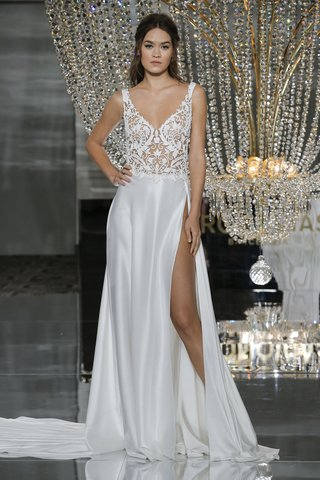 pronovias-fall-2018-wide-v-neck-sheer-lace-bodice-charmeuse-skirt-with-side-slit