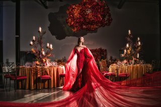 wedding-styled-shoot-with-model-wearing-red-wedding-dress-with-long-train