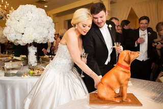 second-wedding-cake-bride-and-groom-cutting-into-dog-with-red-collar-sitting-down