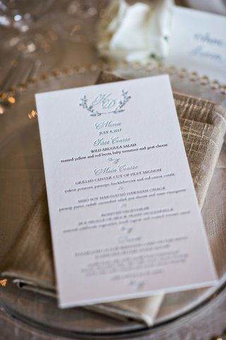 letterpress-wedding-menu-with-seafoam-blue-courses-and-monogram-with-wedding-date-and-details
