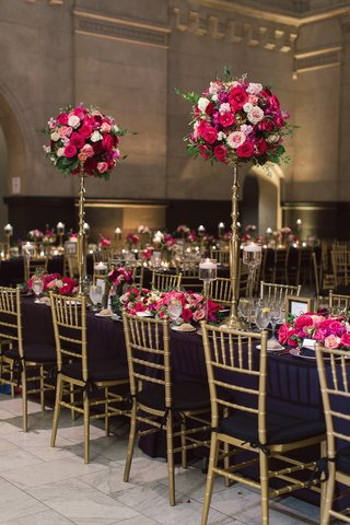 black-linens-gold-chiavari-chairs-bright-pink-flowers