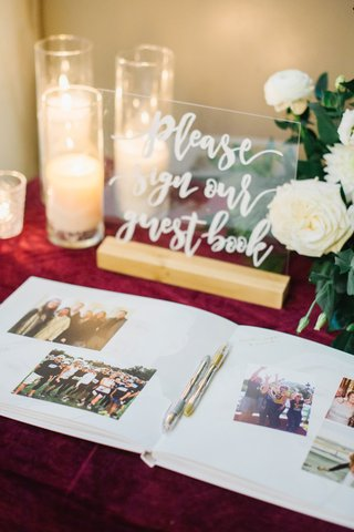 modern-calligraphy-on-lucite-acrylic-sign-for-guest-book-area-guest-book-with-photo-memories