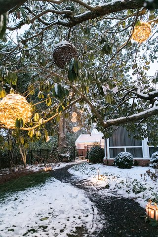 globes-of-string-lights-path-through-snow-to-reception-tent-to-backyard-wedding