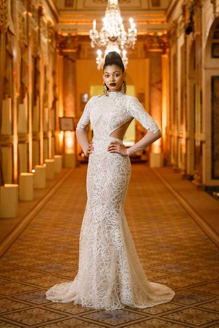 berta-spring-summer-2018-high-collar-necked-gown-large-side-cut-outs-long-sleeves-fitted-skirt-flare