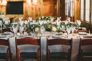 long-rustic-tablescape-simple-florals-green-theme-wedding-maine-planter-box-burgundy-fairy-lights