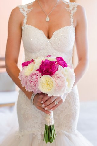 barbie-blank-in-galia-lahav-wedding-dress-holding-bouquet-with-white-garden-rose-and-pink-peony