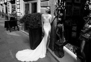 melissa-julie-vino-2018-two-piece-dress-body-suit-embroidered-lace-v-neck-straps-high-slit-skirt