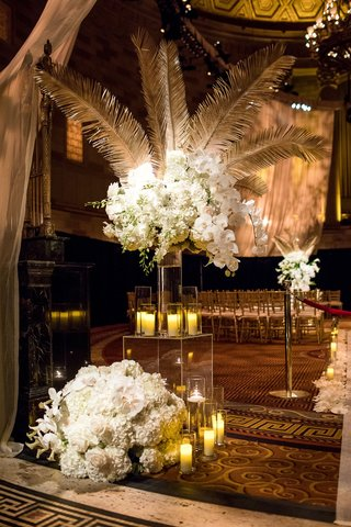 wedding-ceremony-flower-arrangement-white-orchid-rose-candles-gold-palm-acrylic-box-clear-vase