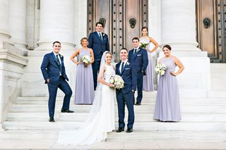 wedding-party-in-washington-dc-lavender-high-neck-bridesmaid-dresses-groomsmen-in-navy-blue-suits