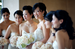 bride-and-bridesmaids-in-strapless-dresses