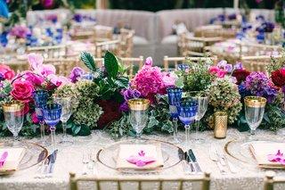 flower-table-runner-with-pink-rose-pink-hydrangea-green-hydrangea-and-purple-hydrangea