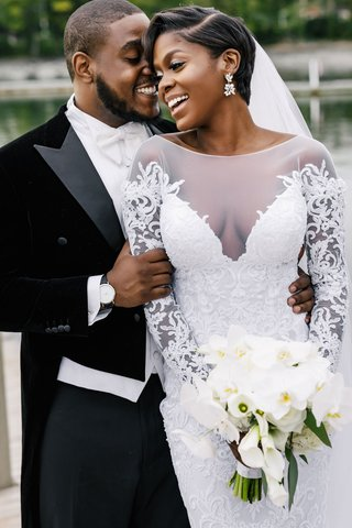 african-american-couple-luxury-wedding-groom-in-velvet-tuxedo-with-tails-white-bow-tie-pnina-tornai