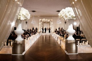 chicago-ballroom-wedding-ceremony-indoor-white-run-white-flowers-chuppah-candles-custom-boxes-wood