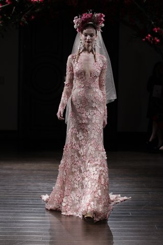 long-sleeve-pink-wedding-dress-with-v-neck-and-flower-appliques