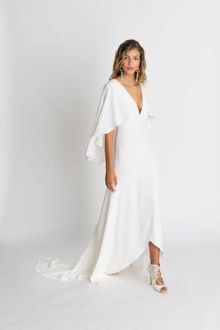 alexandra-grecco-fall-winter-2018-the-magic-hour-wedding-dress-sawyer-v-neck-high-low-flutter