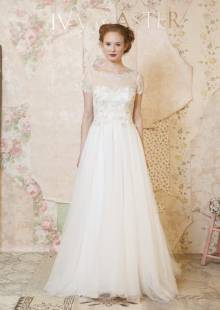 ivy-aster-short-sleeve-wedding-dress-with-sheer-neckline