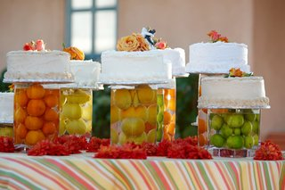 lemon-orange-and-lime-in-vases-with-cakes-on-top