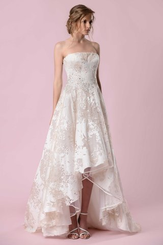 gemy-maalouf-2016-strapless-wedding-dress-with-pattern-and-high-low-hem