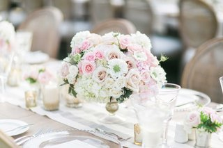 wedding-reception-centerpiece-with-white-hydrangea-white-rose-and-pink-rose-flowers