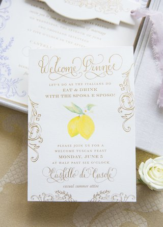 italian-tuscany-destination-wedding-welcome-dinner-invitation-lemon-detail