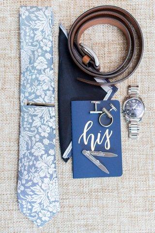 groom-accessories-his-vows-watch-cuff-links-belt-tie-tie-clip-pocket-square-blue-color-palette