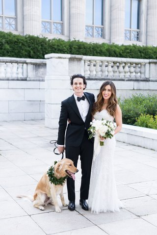 wedding-photo-of-bride-and-groom-with-golden-retriever-wearing-collar-of-greenery-chicago-wedding