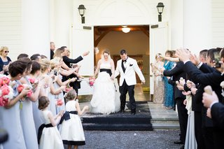 guests-toss-eco-friendly-confetti-grand-exit-ceremony-couple-southern-wedding-greenbrier-chapel