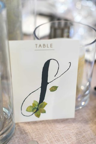 wedding-reception-table-number-rustic-wedding-ideas-black-calligraphy-with-green-leaf-illustration