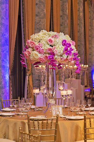 white-hydrangeas-pink-roses-purple-orchids-wedding-centerpiece-gold-linens