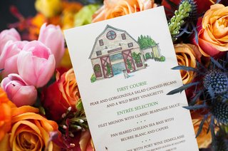 artsy-menu-personalized-drawing-on-menus-artist-rendition-of-dog-and-wedding-venue