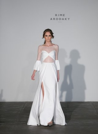 rime-arodaky-2018-bridal-collection-wedding-dress-sheer-long-bell-sleeve-bodice-high-slit-sparkles