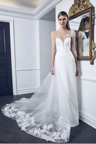 romona-keveza-collection-bridal-fall-2018-asymmetrical-illusion-wedding-dress-column-flowers