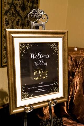 joe-panik-wedding-sign-with-gold-dots-and-lettering