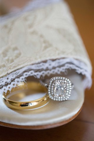 double-halo-white-gold-engagement-ring-simple-yellow-gold-wedding-band-for-demarco-murray-wedding