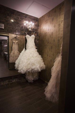 mark-zunino-strapless-wedding-dress-on-hanger