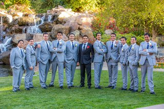 indian-groom-with-nine-friends-in-grey-suits