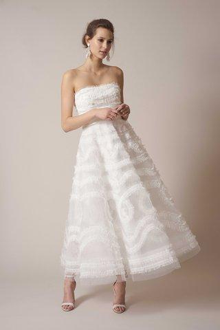 sachin-babi-spring-summer-2017-debut-bridal-collection-strapless-tea-length-ruffle-wedding-dress
