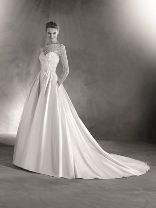 atelier-pronovias-2017-elmira-wedding-dress-princess-style-lace-bodice-satin-skirt-with-long-sleeves