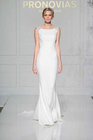 pronovias-2016-sleeveless-crepe-wedding-dress-with-jewel-shoulder