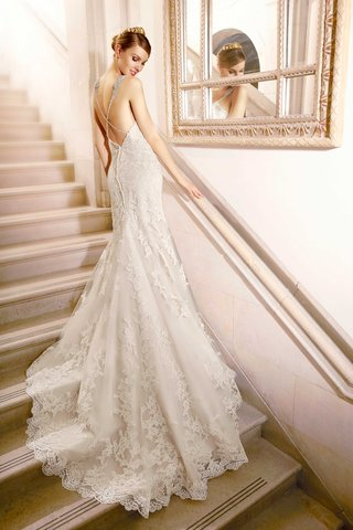 back-of-wedding-dress-with-criss-cross-beaded-straps-lace-applique-chapel-train-by-moonlight-brida