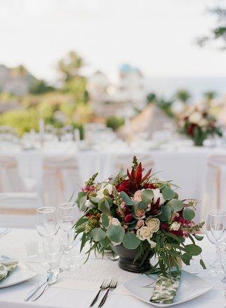 wedding-rehearsal-dinner-welcome-party-centerpiece-mexico-destination-wedding-eucalyptus-red-flowers