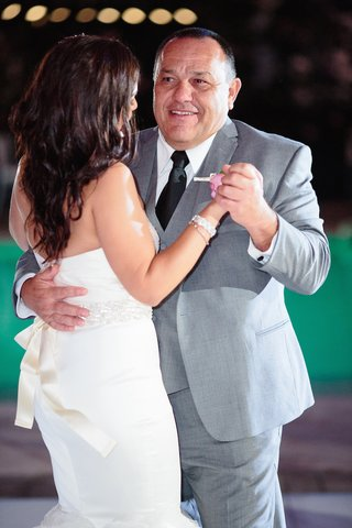 bride-in-strapless-vera-wang-dress-beaded-sash-dances-with-father-in-grey-suit-black-tie