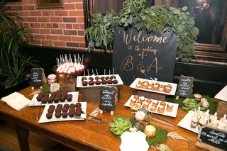 wedding-reception-dessert-table-with-welcome-sign-black-rose-gold-cake-pops-mini-cupcakes
