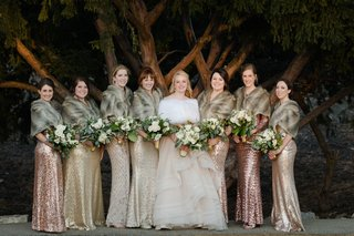 bride-in-martina-liana-layered-ballgown-bridesmaids-in-mismatched-metallic-sequin-dresses-and-furs