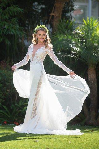 bride-twirling-designer-sheath-wedding-gown-galia-lahav-boho-chic-wedding-hotel-del-coronado