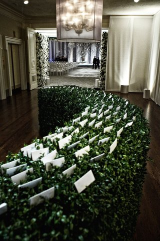 wedding-escort-cards-on-green-leaf-hedge-in-ballroom