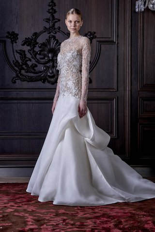 fit-and-flare-gown-with-sheer-bodice-and-pick-up-skirt